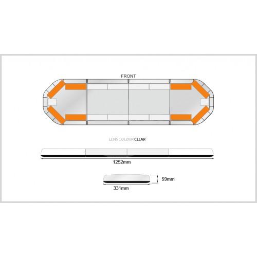 Rampe LegiFit 125cm - Leds Ambre/Capot Clair