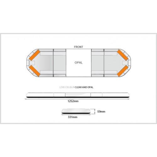 Rampe LegiFit 125cm - Leds Ambres/Capot ClairOpal