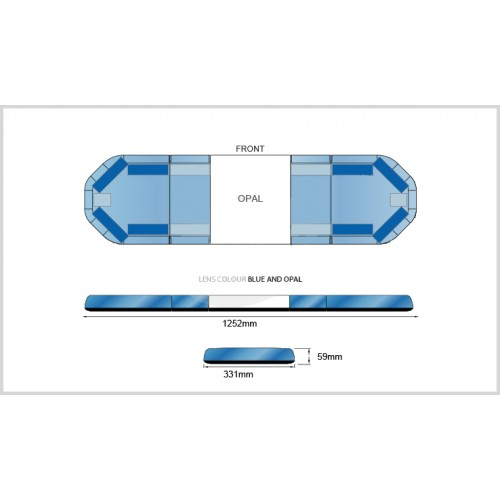 Rampe LegiFit 125cm - Leds Bleues/Capot BleuOpal