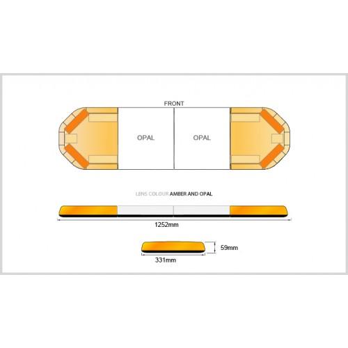 Rampe LegiFit 125cm - Leds Ambres/Capot AmbreOpalLarge