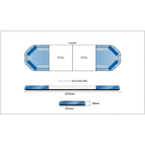 Rampe LegiFit 125cm - Leds Bleues/Capot BleuOpalLarge