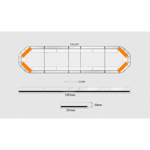 Rampe LegiFit 139cm - Leds Ambres/Capot Clair