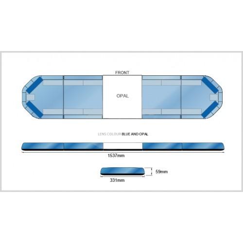 Rampe LegiFit 154cm - Leds Bleues/Capot BleuOpal