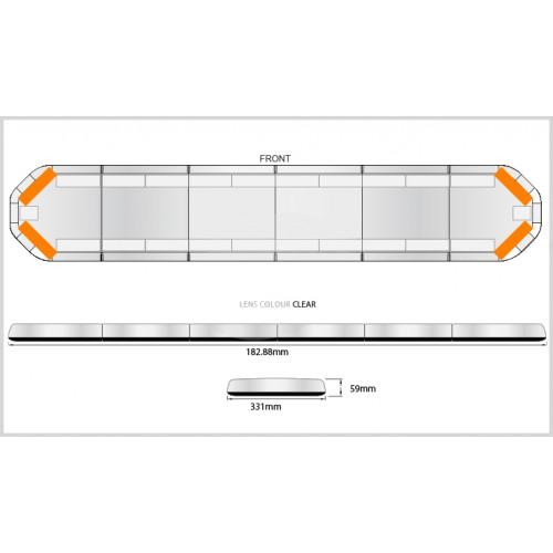 Rampe LegiFit 183cm - Leds Ambres/Capot Clair
