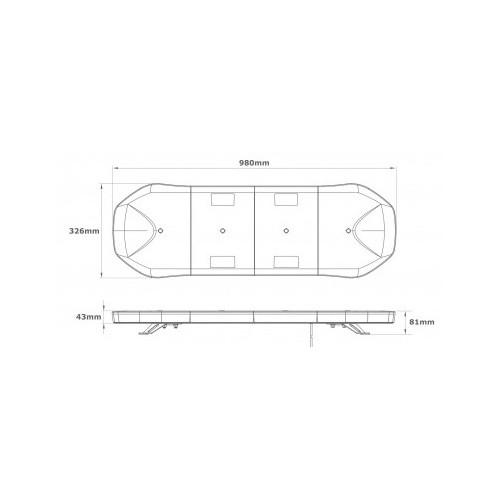 Rampe BELKA 98cm - Leds Ambre/Capot Translucide